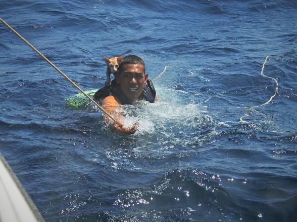 """Thaise Marine schiet te hulp bij een zinkend schip en redt """"man en muis"""""""
