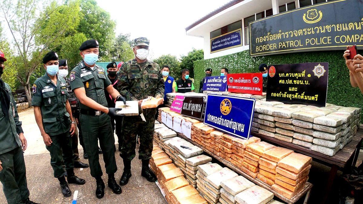 920 kg cannabis in beslag genomen op Mekong rivier in Nakhon Phanom