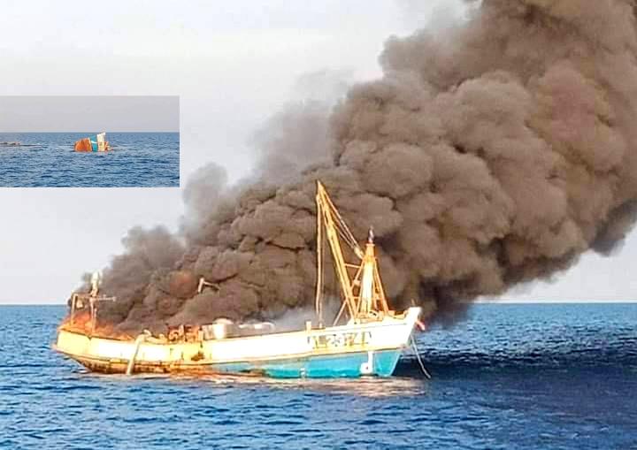 Brand op boot in Sakun – 8 opvarenden gered