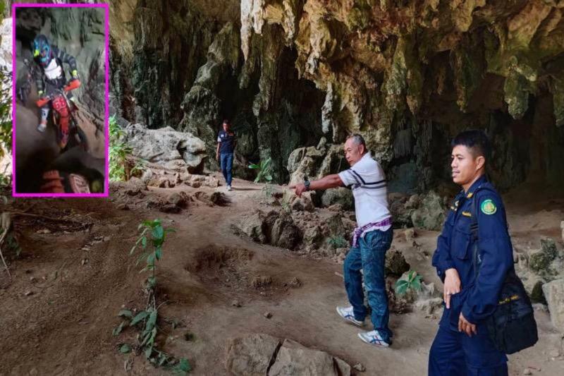 VIDEOCLIP | Groep motorcrossers verheenenweren de oude Toh Luang-grot in Zuid Thailand