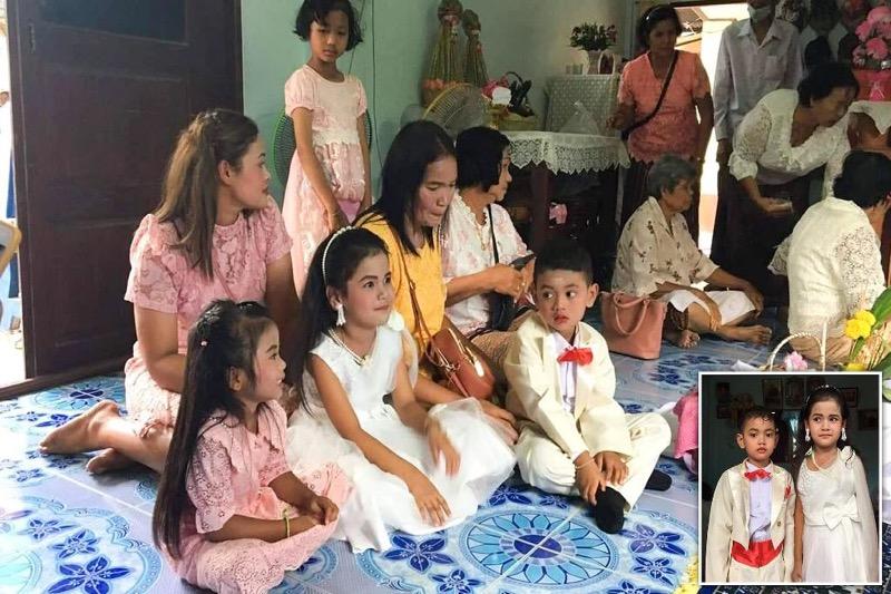 In een vorig leven waren zij geliefden van elkaar zodat een 5 jarige Thaise tweeling nu met elkaar trouwt