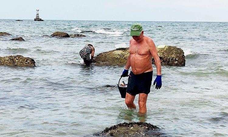 Het lage water in Hua Hin trekt vele mosselzoekers naar het strand van Hua Hin aan