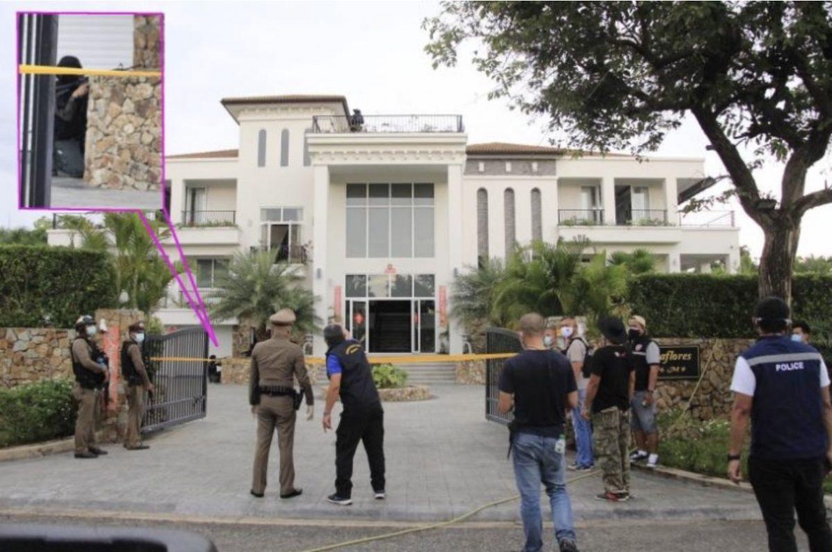 Commandoinval in luxe landhuis nabij de Phoenix Golf Country Club-golfbaan in Pattaya nadat twee politieagenten waren neergeschoten
