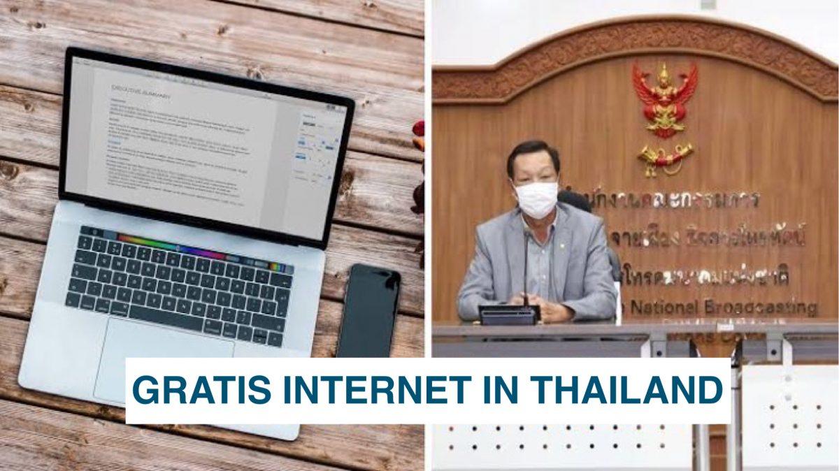 De Thaise huishoudens met een laag inkomen komen in aanmerking voor gratis internet