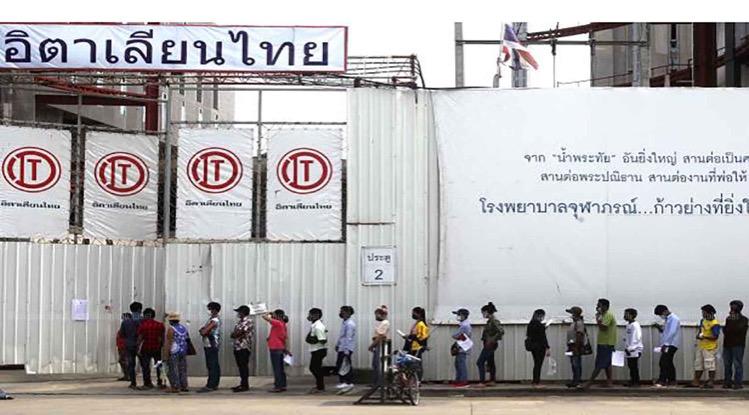Bangkok test 8.000 bouwvakkers in het Huai Khwang gebied op het Covid19 virus