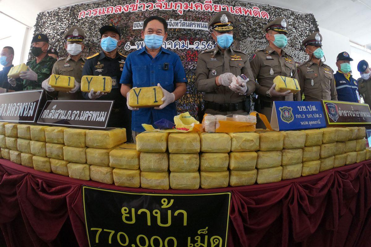 Politie arresteert in Noordoost Thailand 4 drugskoeriers met 150 miljoen baht aan methamfetamine pillen in hun bezit