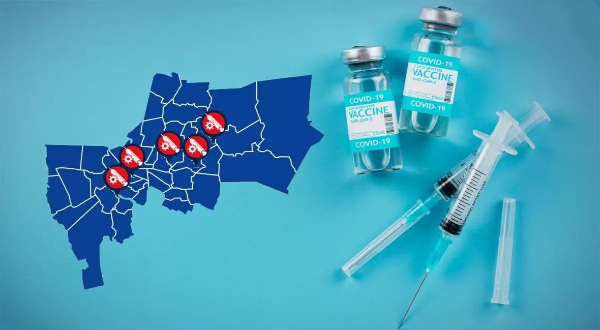 Digitale kaart toont locatie van vaccinatiepunten in en rond Bangkok