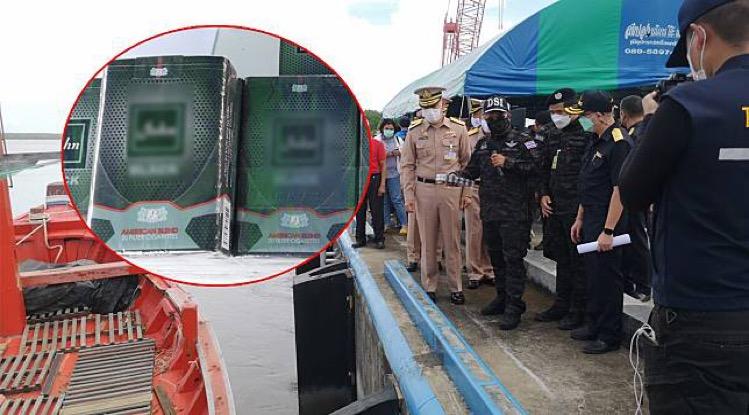Marine-eenheid in Zuid Thailand weet de hand te leggen opeen enorme partij sigaretten ter waarde van 30 miljoen baht
