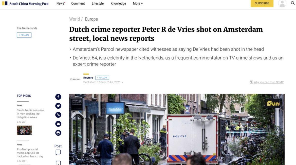 Grote buitenlandse aandacht voor het neerschieten van Peter R. De Vries